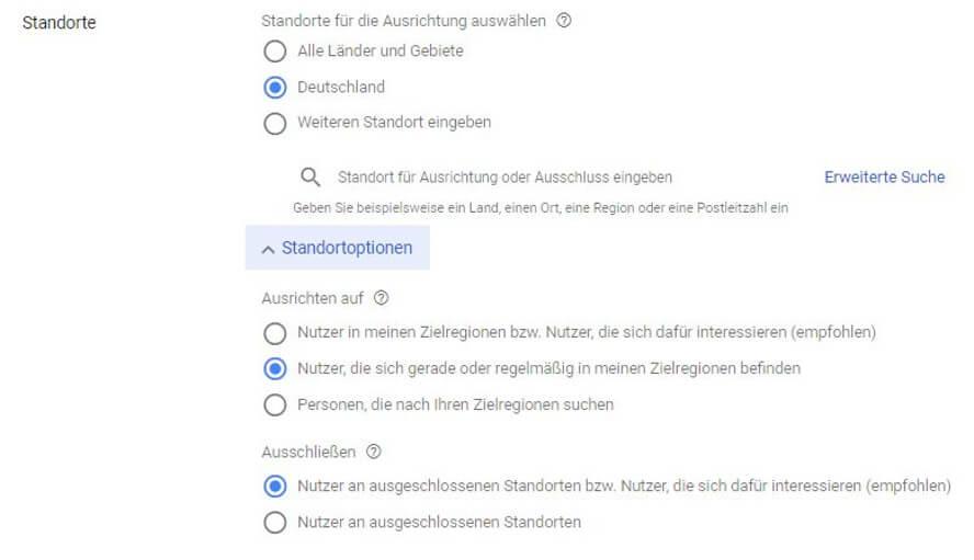 Google-Ads-Standortoptionen