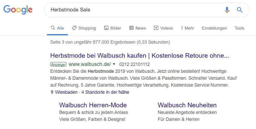 Beispiel-Anzeige mit viele Anzeigenerweiterungen