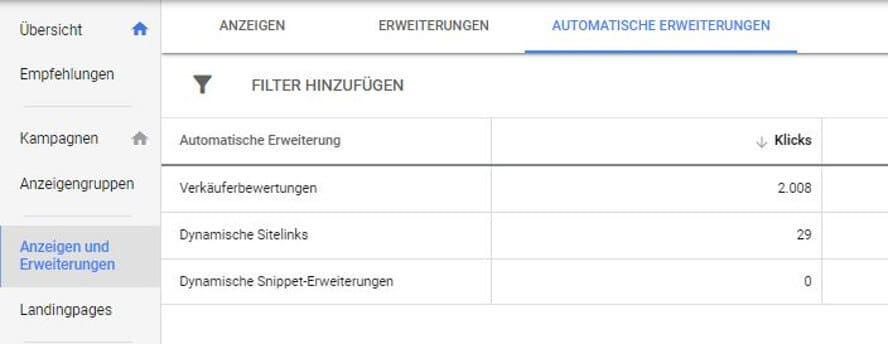 Automatische Erweiterungen in Google Ads