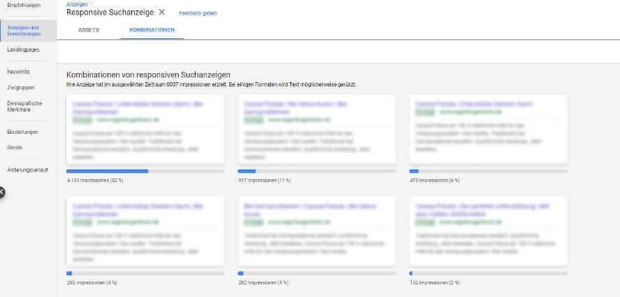 Kombinationen responsiver Suchanzeigen in Google Ads