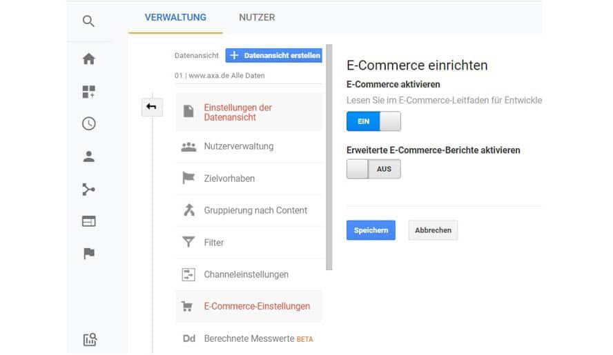 Nach der Einrichtung von Zielen kannst Du Dein E-Commerce Tracking aktivieren.