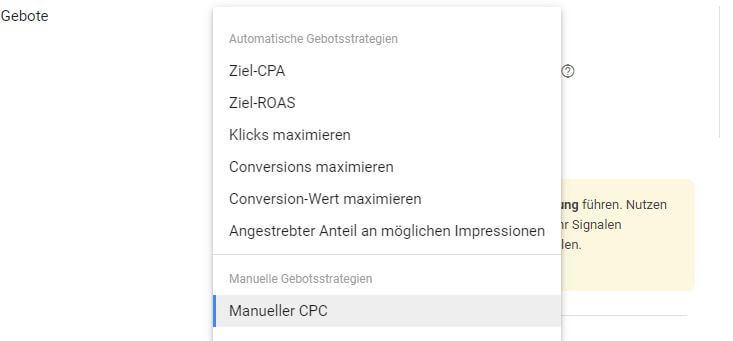 Auswahl der neuen Gebotsstrategie für Impressionen in Google Ads