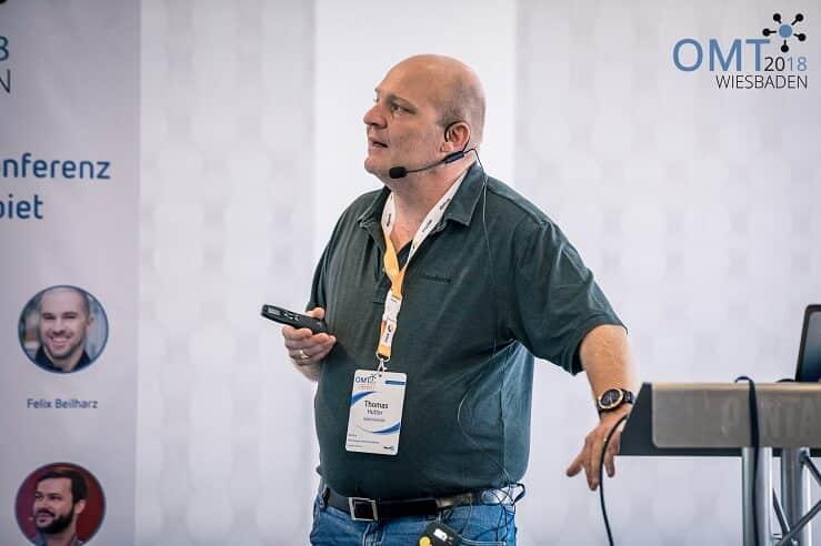 """Thomas Hutter mit """"Facebook Dynamic Ads – vollautomatisch geräte- und kanalübergreifend skalieren"""" auf dem OMT 2018"""
