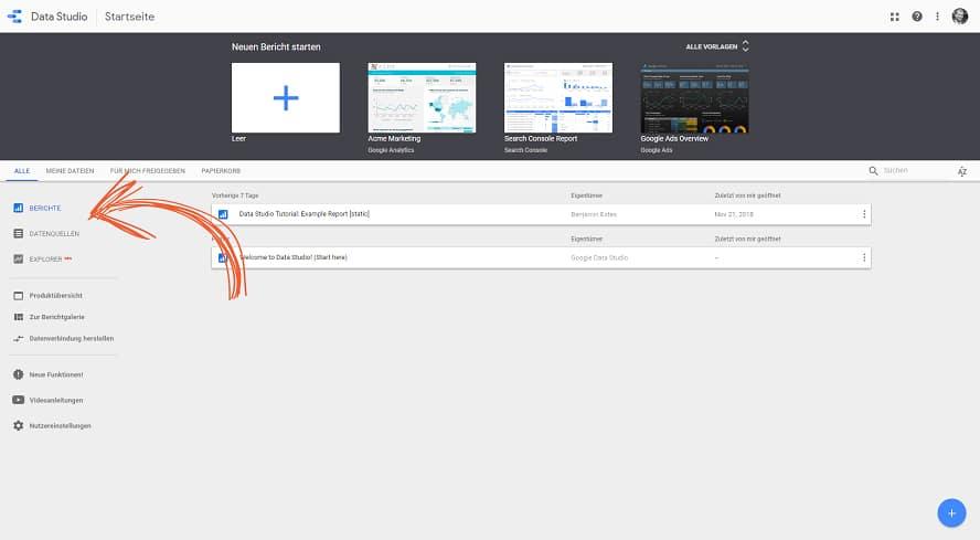 Orientierungshilfe mit den zwei Dokumententyps in Google-Data-Studio.
