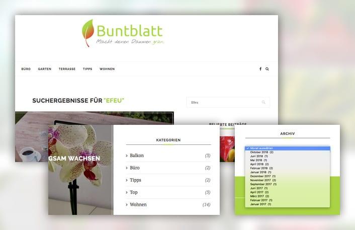 Collage aus Screenshots der Suche, der Kategorien und des Archivs bei Buntblatt.blog