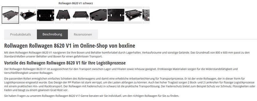 Darum geht's: Eine Produktbeschreibung, die sich automatisieren lassen könnte (Shop: boxline.com).