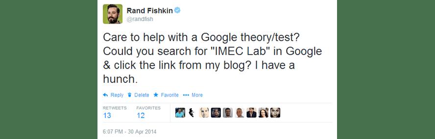 Der Twitter-Post von Rank Fishkin zu seinem Test, ob die CTR ein Rankingfaktor ist.