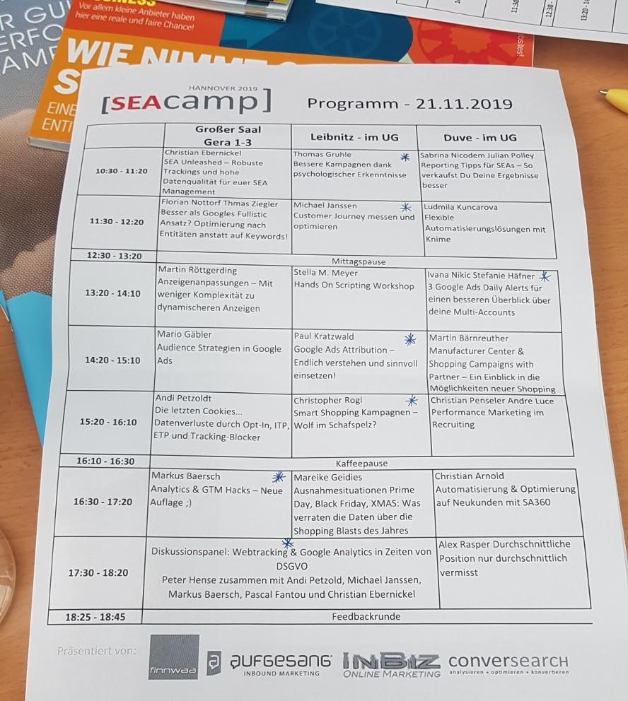 Timeline SEAcamp 2019