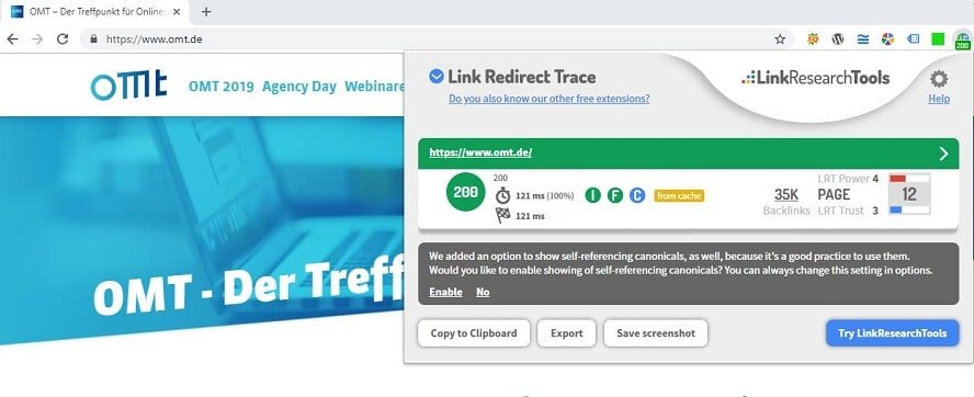 Link Redirect Trace analysiert omt.de
