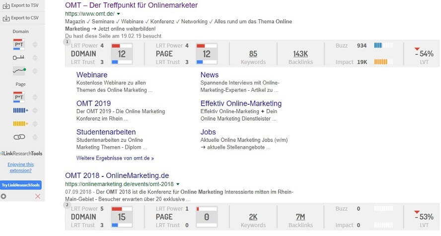 Analyse der SERPs durch das Link Research SEO Toolbar Plugin.