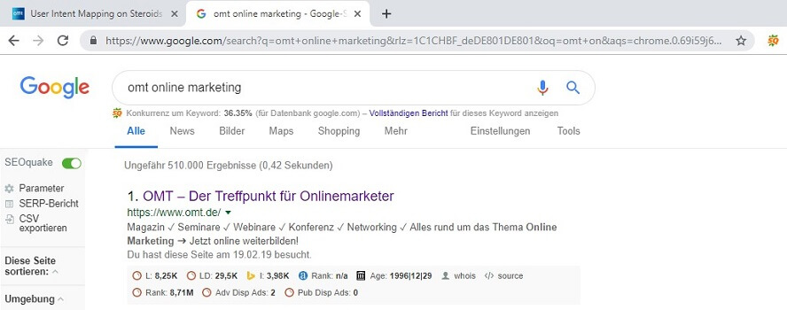 Analyse der SERPs durch SEO Quake