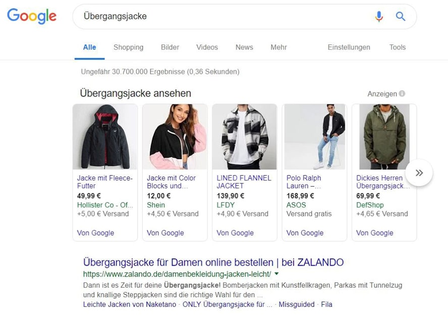 Suchanfrage Shopping Übergangsjacke