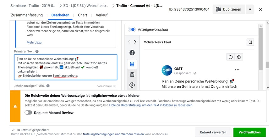 Screenshot aus dem Werbenanzeigenmanager (Alt-Tag: Speichereinstellungen-Facebook-Werbeanzeigenmanager)