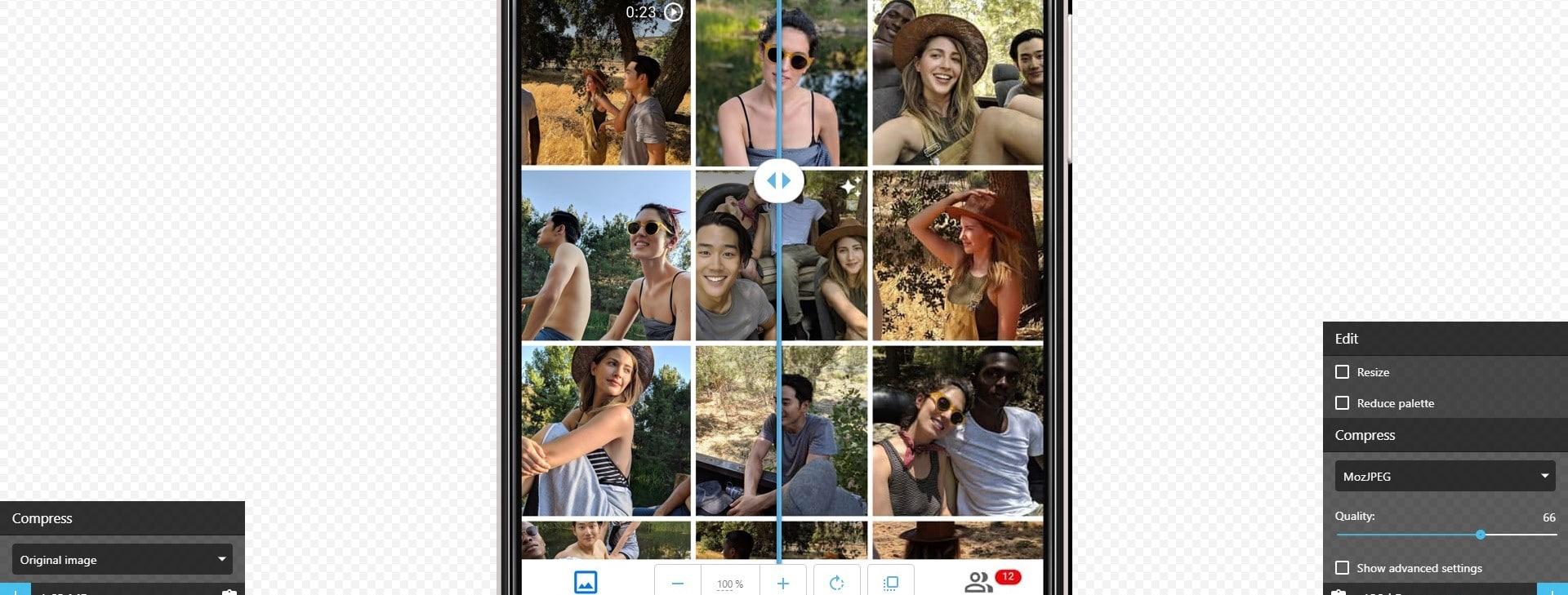 Interface www.squoosh.app