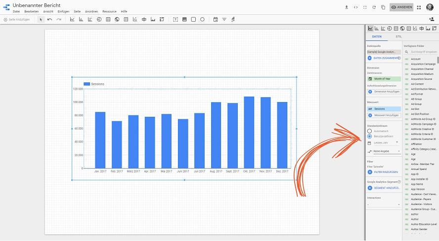 Den Standardzeitraum in Google-Data-Studio anpassen.