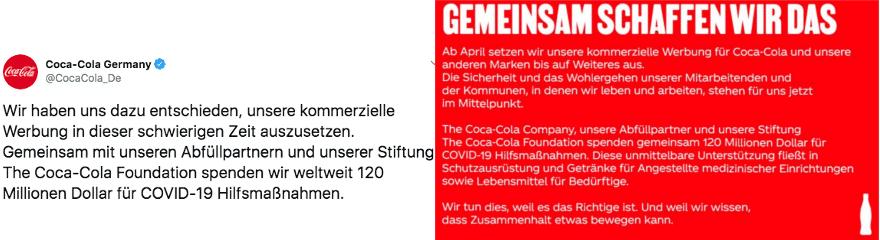 Coco-Cola Deutschland pausiert Werbung https://twitter.com/CocaCola_De/status/1243612904831758343