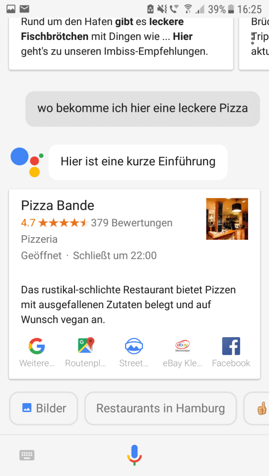 Screenshot einer Suchanfrage mit Google Assitant