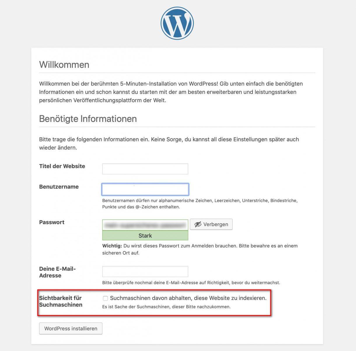 WordPress Installationsbildschirm
