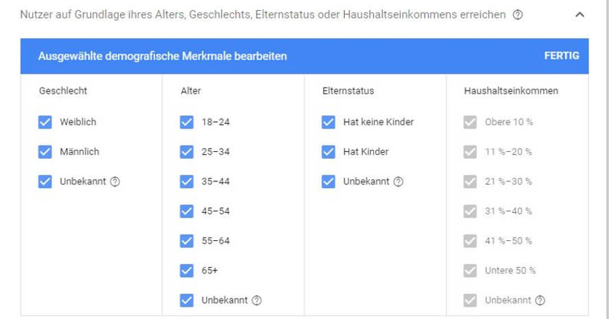 Demografische Merkmale in Google Ads