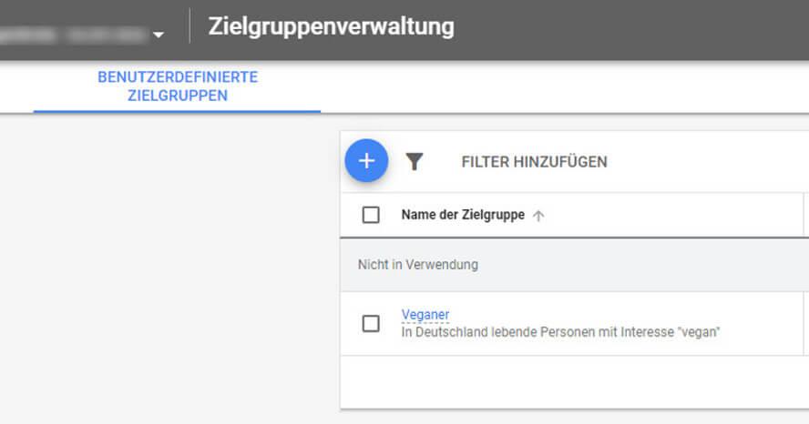 Benutzerdefinierte Zielgruppen im Google-Ads-Konto