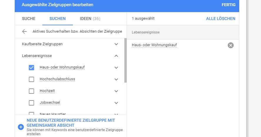Google-Ads-Zielgruppen nach Lebensereignissen