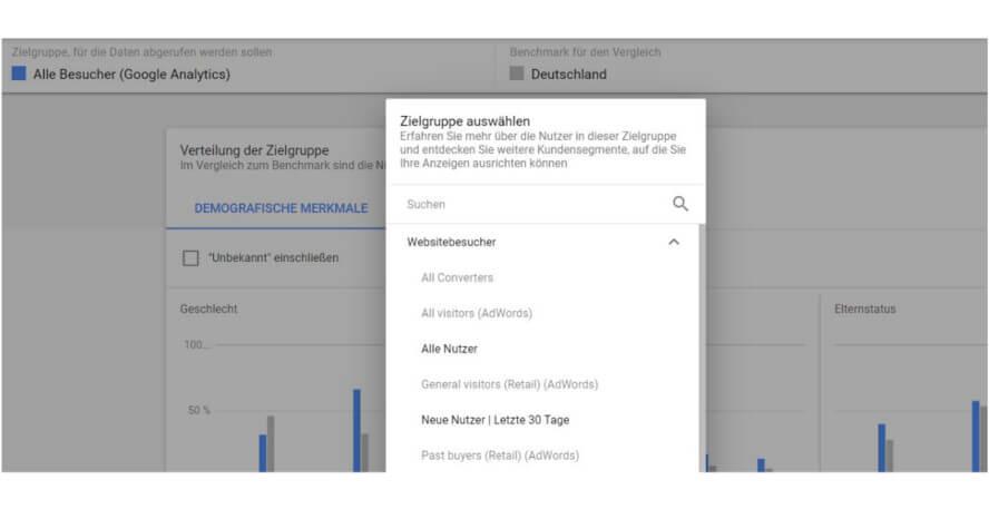 Zielgruppen-Vergleich in Google Ads