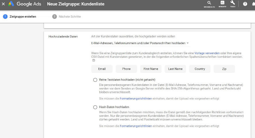 Kundenlisten in Google Ads
